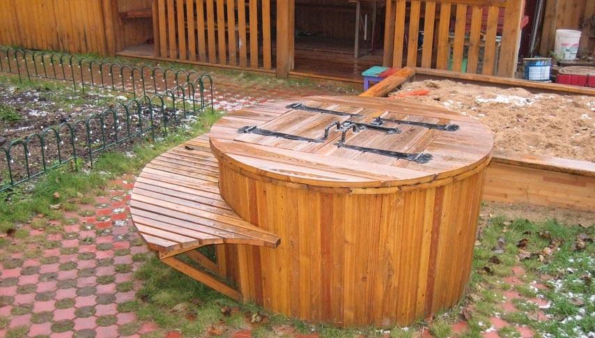Как сделать крышку на колодец из дерева  176
